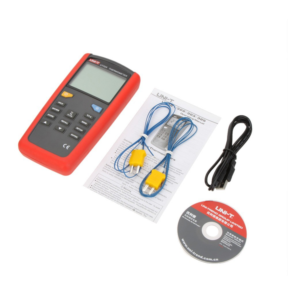 UNI-T UT325 Electronic Digital Thermometer Temperature Meter Tester T1-T2 Dual Input with High/Lower Alarm & Auto Calibration