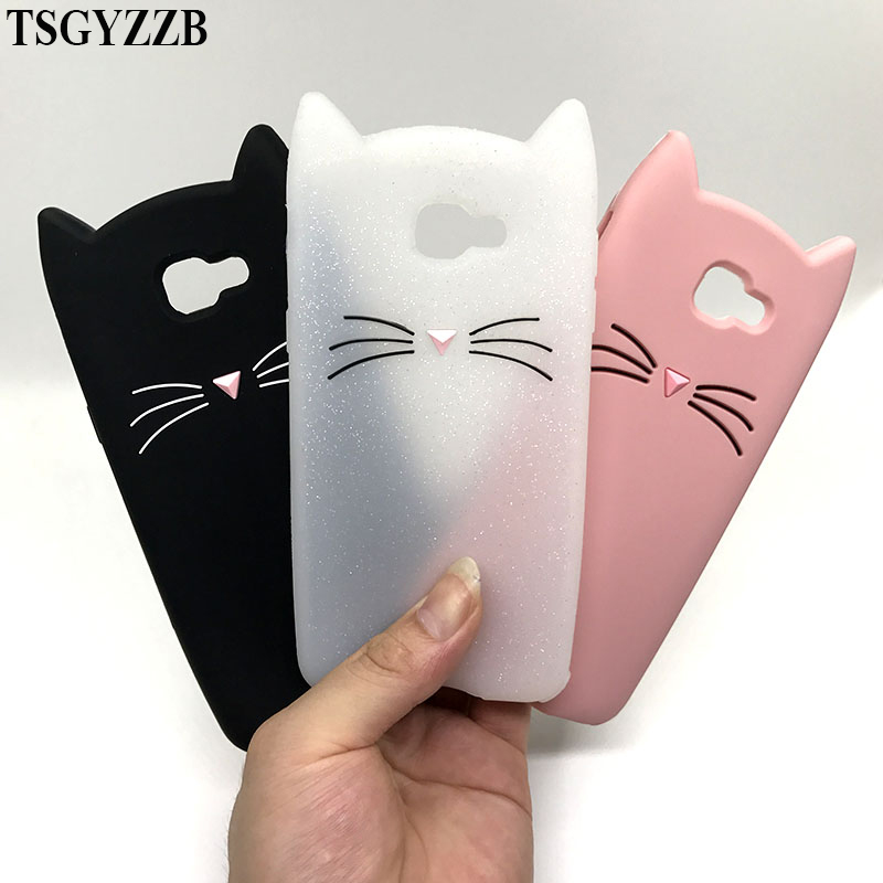 Cute Cat Phone Case For Samsung Galaxy S8 S9 Beard Cat Ears 3D Silicon Soft Back Cover A5 2015 J3 2016 J5 Pro J7 2017 J2 Prime image