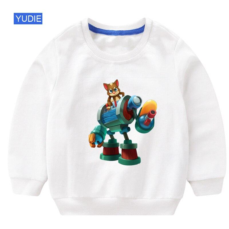 Best Sellers Girls Casual Autumn Cartoon Sweatshirt Long Sleeve 3T 8T Can speak Cat Game Printed Tracksuit Outerwear Sweatshirt in Hoodies Sweatshirts from Mother Kids