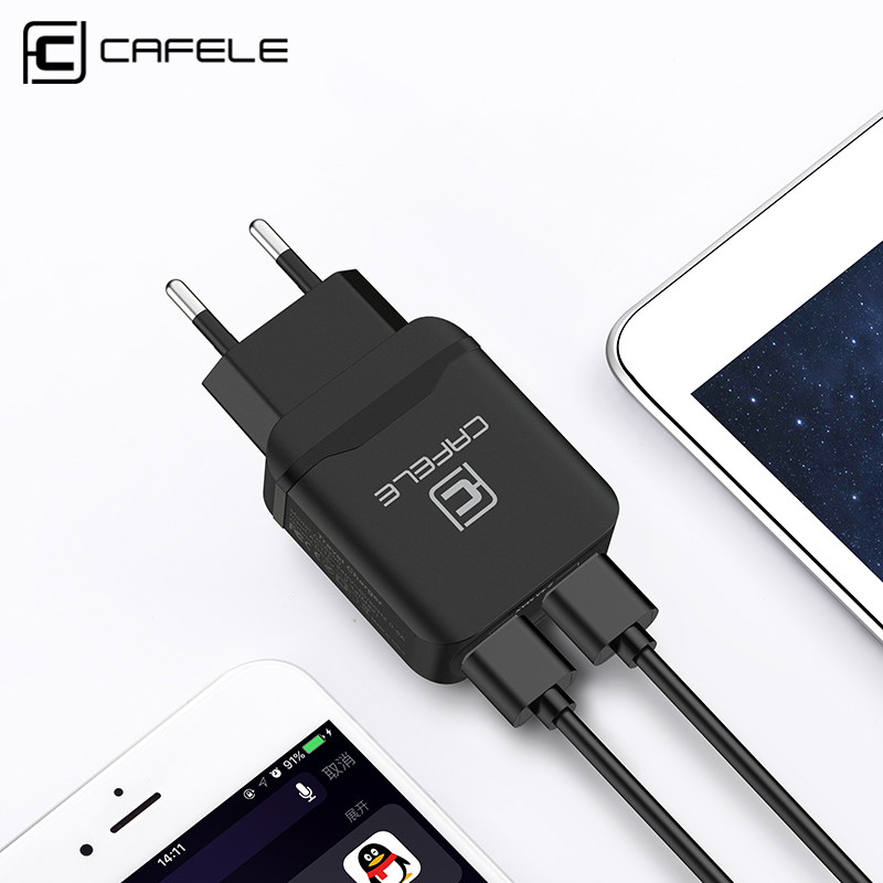 CAFELE Travel USB EU Charger Plug 2.4A Dual output Universal Adapter Charger Ponsel Pintar Charger Untuk Huawei iPhone Xiaomi