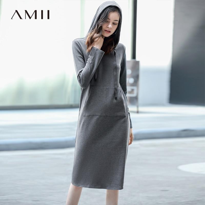 Amii Femmes Sweat À Capuche Robes Hiver Polaire Chaud 2018 Haute Qualité décontracté Solide Épaissie Automne Femmes robe de grande taille