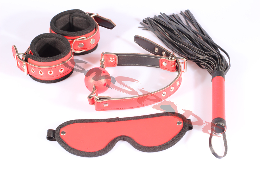 Free Shipping 4Pcs Pvc Kit Handcuffs Gag Blindfold Leather -9761