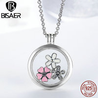 High Quality 925 Sterling Silver Pink Flower Poetic Daisy Cherry Blossom Mixed Enamel Locket Pendant Necklaces