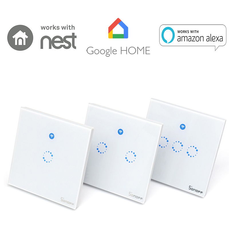 Sonoff T1 1 2 3 Gang Smart WiFi Wall Light Switch RF/APP/Touch Control  Timer UK Panel Home Automation Google Nest/Amazon Alexa