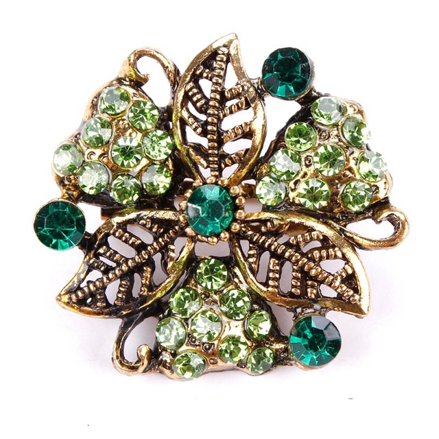 Vintage Gold Color Plated Flower Brooches for Women Wedding Rhinestone Bouquet Bijoux Pins Clothing Jewelry Accessories