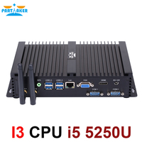 Fanless mini pc i5 Partaker I3 mini computer windows 7 core i5 5250u fanless pc wifi RS232 VGA HD MI factory mini pc i5