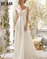 Joky Quaon Beading Appliques Tank Elegant White Chiffon Bridal Gowns Sexy Backless Boho Wedding Dresses 2017 Vestido Novia