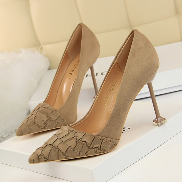 2018 Women Pumps Women Shoes High Heels slip on Sexy Nude Pointed Toe Shallow Party Wedding Shoes  1716-19