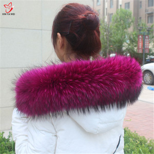 Image 5 - Natural Fur Collar Shawl Sweater Coat Collar Scarves Luxury Fur Raccoon Neck Cap Winter Real Fur Collar And Scarves women scarf
