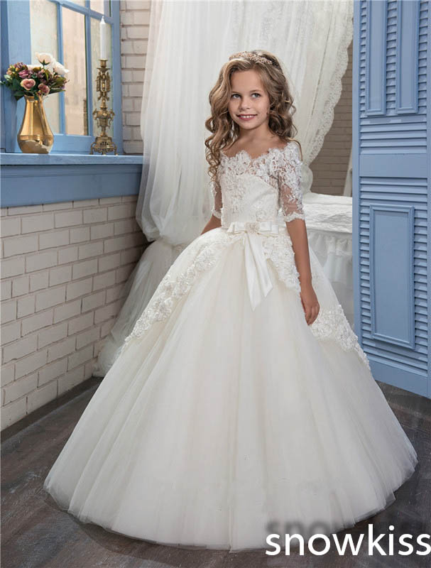 купить 2018 white/ivory tulle ball gown with lace first communion dress for little girls cap sleeve kids evening party dresses with bow онлайн