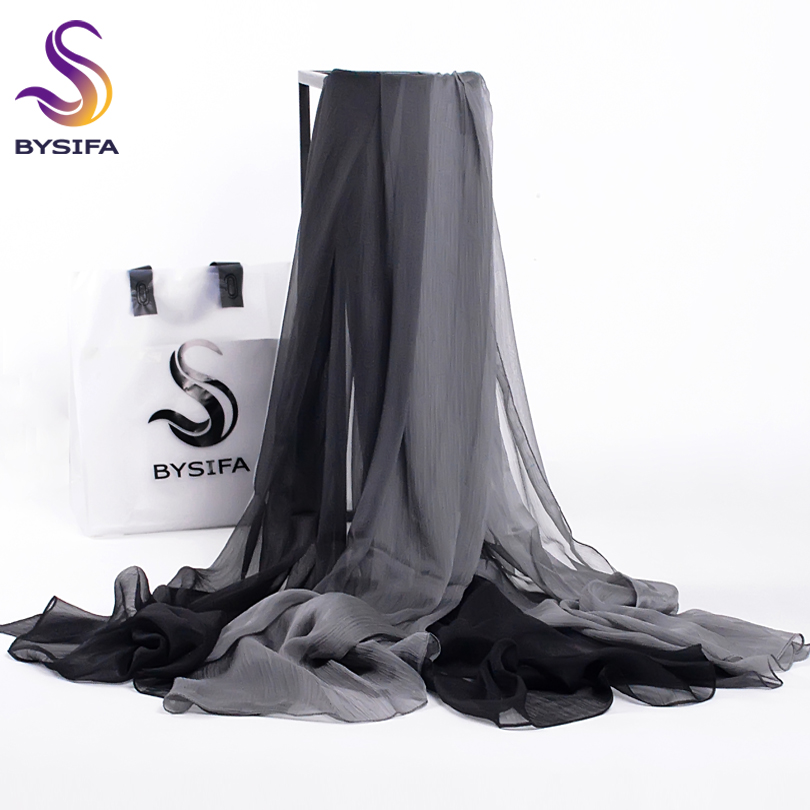 [BYSIFA] Winter Women   Scarves   2017 Brand Solid Gradient Silk Long   Scarf     Wrap   Shawl Bufandas New Grey Black Neck   Scarf   190*160cm