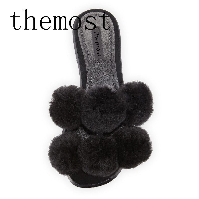 themost Europe and the United States spring and summer fashion ladies flat real rabbit fur plush luxury black sandals slippers все цены