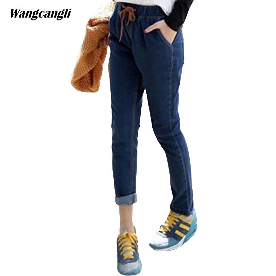 jeans woman Elastic Waist Large size XL4XL Spring summer blue Straight trousers Solid color Fashion leisure trend 2XL wangcangli смартфон highscreen fest xl pro blue