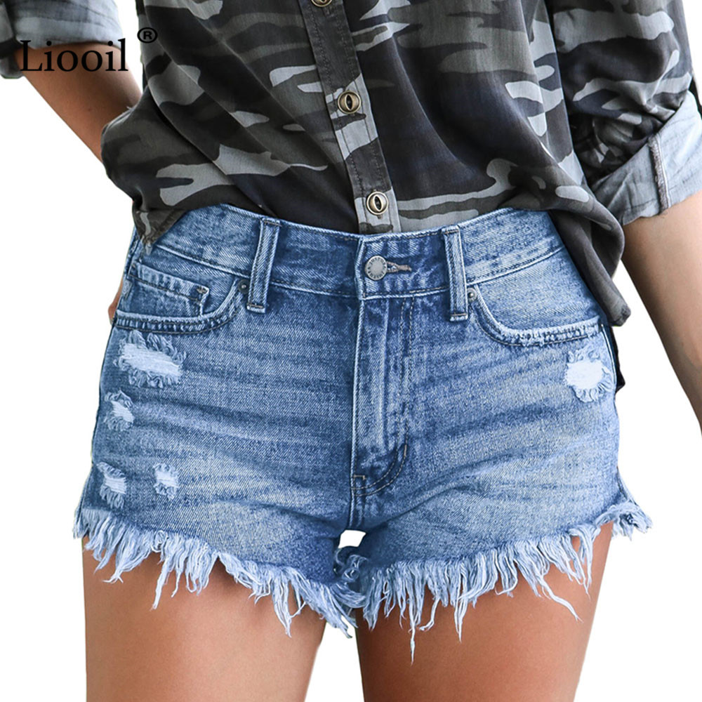 Liooil Denim Shorts Plus Size Casual Skinny 2019 Cotton Mid Waisted Fashion Button Pockets Tassel Women Shorts Sexy Jean Shorts