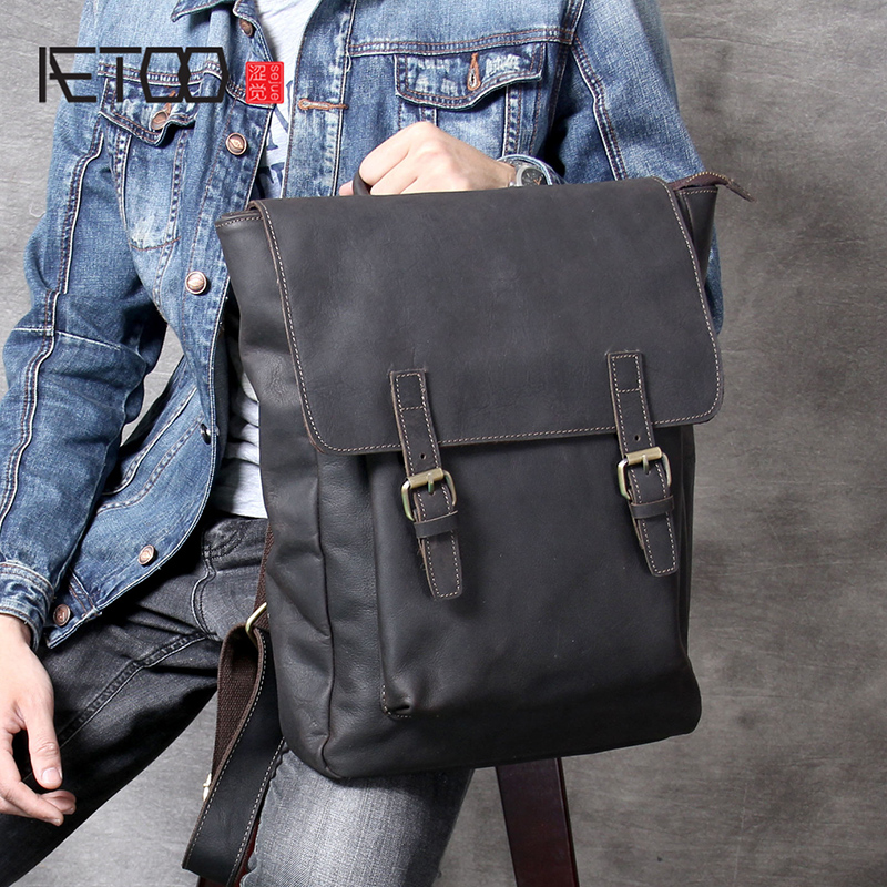 AETOO Vintage Casual head cowhide Shoulder Pack College Style classic backpack handmade male and female leather backpackAETOO Vintage Casual head cowhide Shoulder Pack College Style classic backpack handmade male and female leather backpack