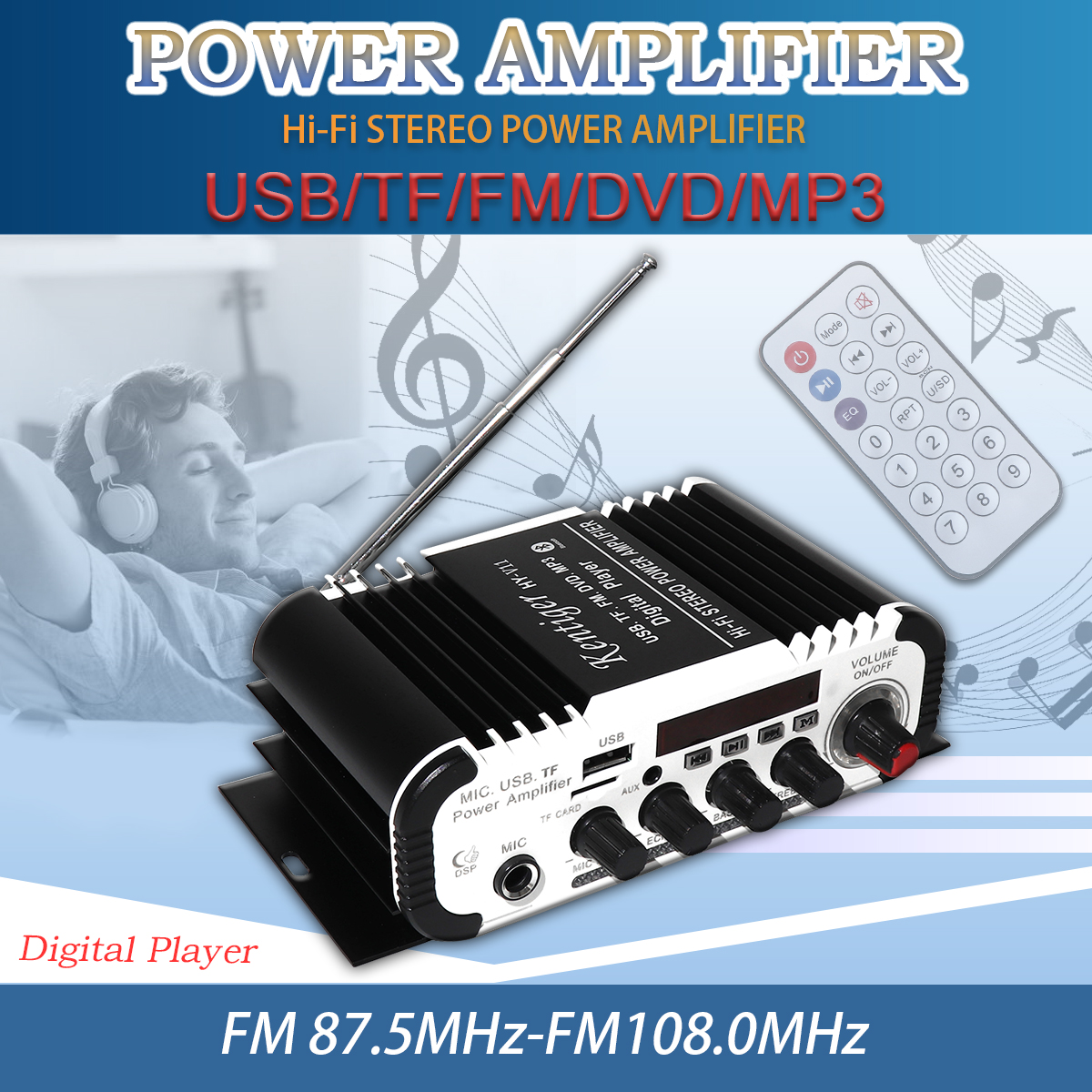 FM Radio Receiver 2CH HI FI Bluetooth Car Audio Power Amplifier FM Radio Player SD USB DVD MP3 Input for Car Motorcycle Home in Stereo Amplifiers from Automobiles Motorcycles