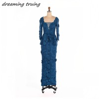 Elegant Dark Blue Lace Mother Of The Bride Dresses Long Sleeves Floor Length Women Evening Party