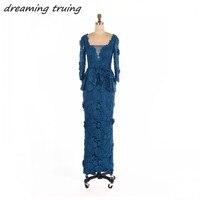 Elegant Dark Blue Lace Mother Of The Bride Dresses Long Sleeves Floor Length Women Evening Party Gowns For Wedding vestido novia