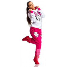 2015 Autumn Spring Minnie Mouse Printed Suit Tracksuits Women Cartoon Sweatshirt Set Girls Hoodies And Pants