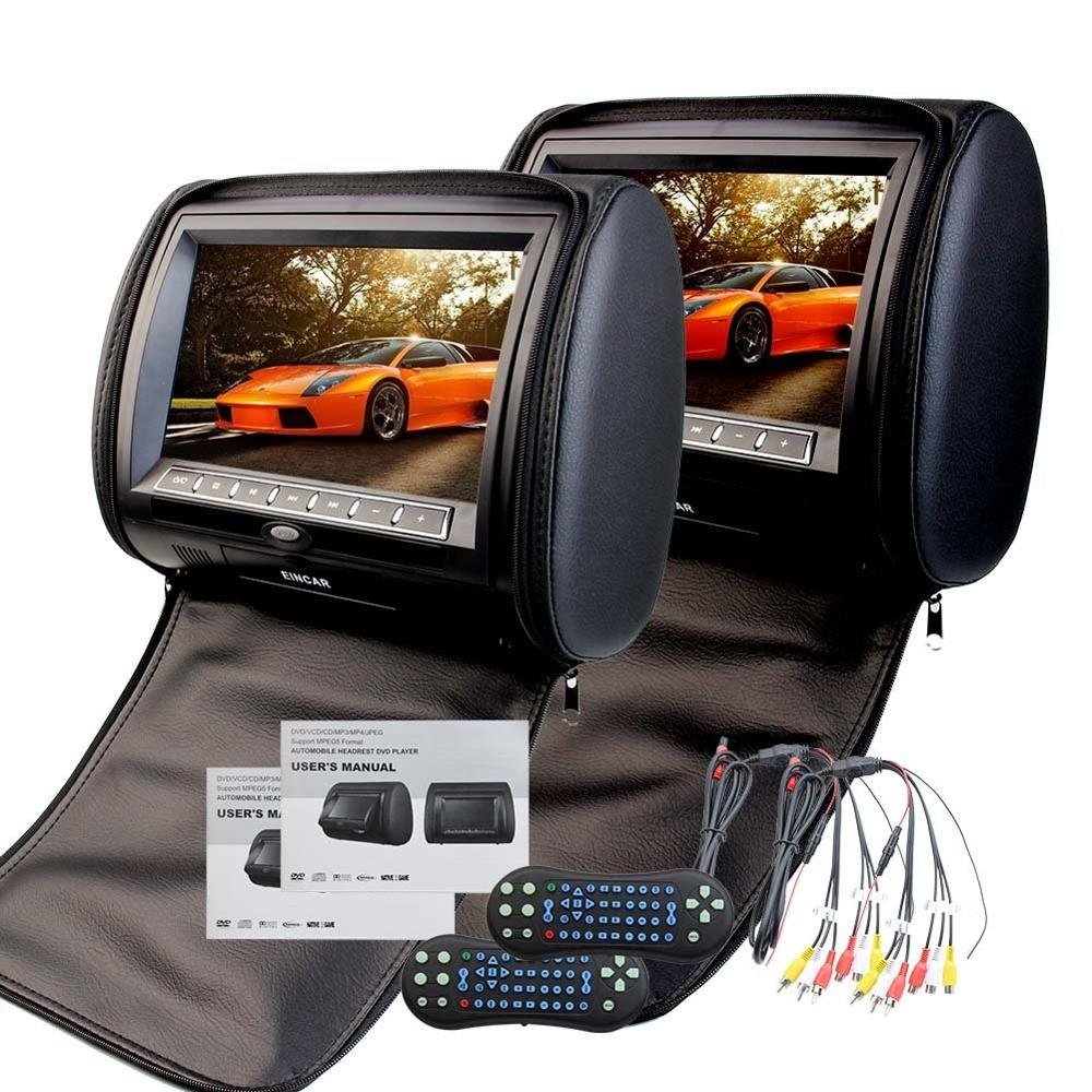 Pair of 9Inch HD 1080P Digital TFT LCD Screen Auto Monitor Car cd pillow Headrest DVD Player with Game Dis support IR Headphone pair of 9 car headrest cd dvd player with tft lcd digital screen auto monitor support usb ir fm transmitter two 2 ir headphone