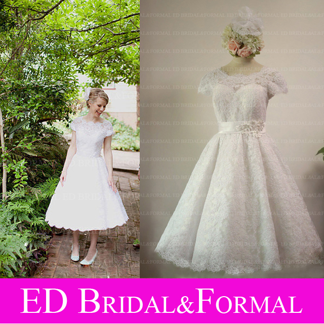 Vintage Wedding Gown Style 5835 : Vintage s style lace tea length wedding dress with cap sleeves