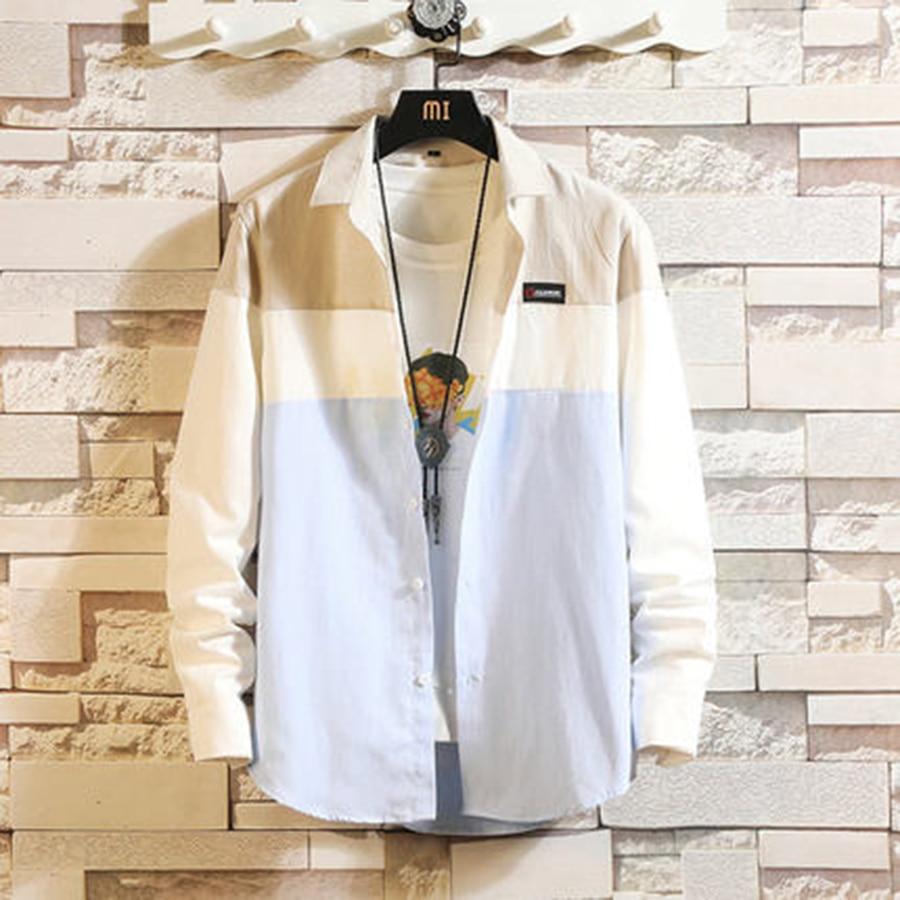 Casual Patchwork Shirt 2019 Spring Men Button Big Size Korean Style Clothes Summer Slim Fit Fashions Camisa Men Dress 50CS034 5