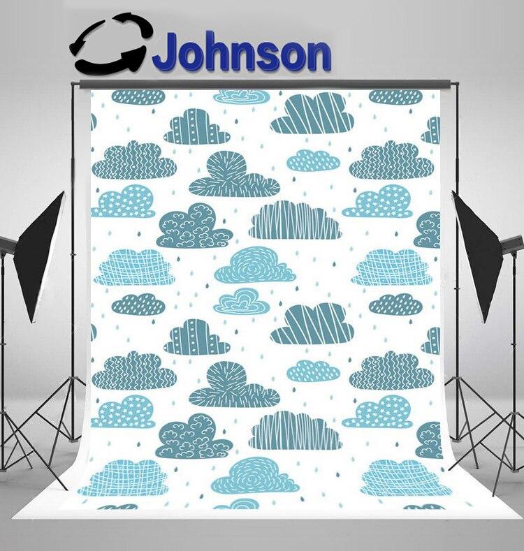 Carton blue rain Clouds Cute background Vinyl cloth High quality Computer print children kids photo backdrop