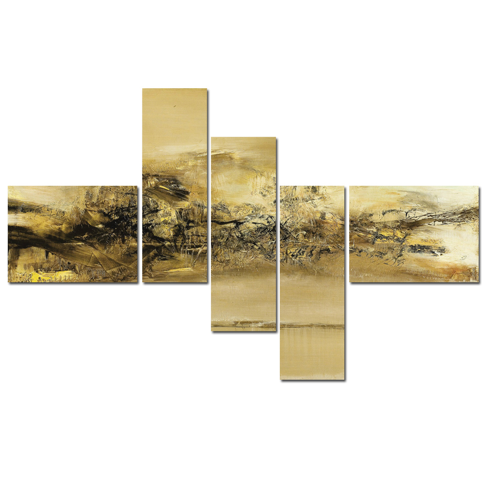 5 Panel Modern Canvas Wall Art Painting Gold Abstract Artwork ...