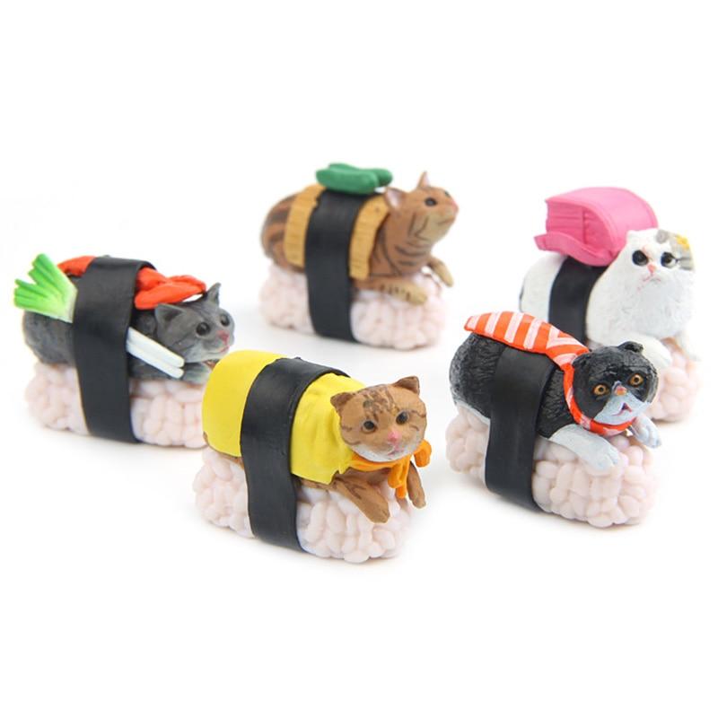 Kawaii Sushi Cat miniatűr figura Bonsai dekoráció mini tündér kerti állat szobor gyanta kézműves Home Car Dísz ajándék