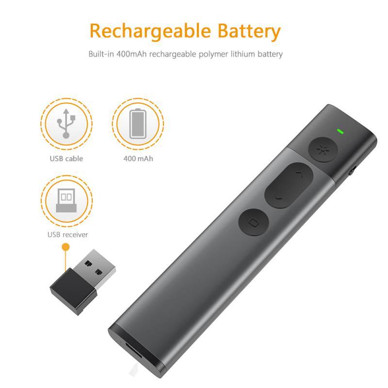Universel 2.4 GHz USB sans fil présentateur PPT télécommande avec pointeur Laser vert Laser Flip Pen pour présentation Powerpoint