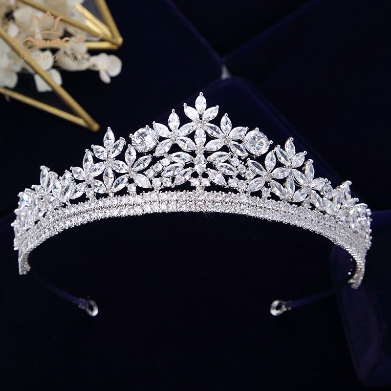 Bavoen Top Quality Royal Sparkling Zircon Brides Tiaras Crown Silver Crystal Bridal Hairbands Headpiece Wedding Hair