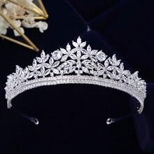 Bavoen Chất Lượng Hàng Đầu Cô Dâu Hoàng Gia Zircon Lấp Lánh Tiaras Thái Bạc Pha Lê Hairbands Headpieces Wedding Phụ Kiện Tóc