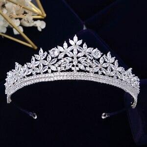 Image 1 - Bavoen Top Quality Brides Royal Sparkling Zircon Tiaras Crown Silver Crystal Hairbands Headpieces Wedding Hair Accessories