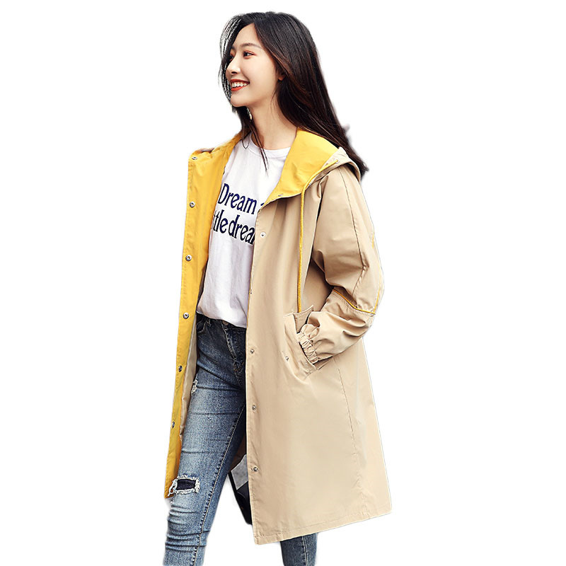 Fashion Spring Long Sleeve Hooded   Trench   coat for women Casual Long Single Breasted Outerwear Student Loose Womens Windbreakers