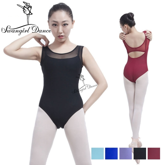 free shipping mesh tank dance sexy leotard women ballet dance training clothes adult spandex ballet dancewear girls ML6017