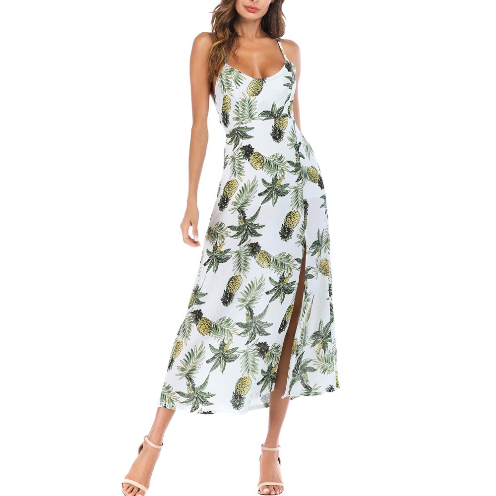 vestidos verano 2018 summer dress Womens Pineapple Long Boho Dress Lady Beach Summer Sundrss Maxi Dress vestidos