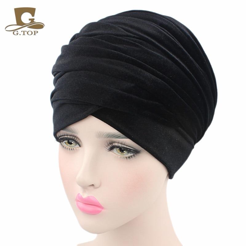 Nueva moda mujer terciopelo turbante diadema abrigo Hijab extra largo - Accesorios para la ropa - foto 2