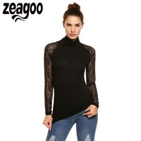 Zeagoo 2017 Fashion Sexy Women Long Sleeve Turtle Neck Lace Patchwork T Shirt Slim Basic Tops