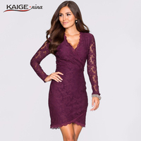 Kaige Nina New Women S Fashion Sexy Lace Pure Color Long Sleeves V Neck Dress Evening