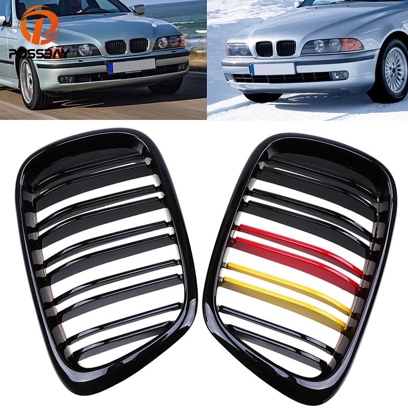 POSSBAY Grille de calandre large centrale pour voiture BMW série 5 E39 528i/530d/530i Touring 1997-2004