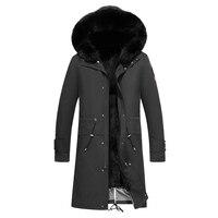 Удлиненная теплая Manteau Hiver Homme большой натуральный меховой воротник мужские зимние парки EMS Бесплатная доставка