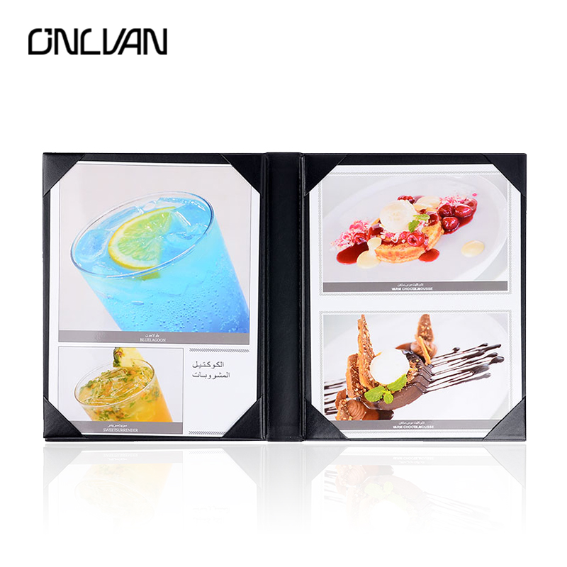 ONLVAN 5pcs/lot 8 inch*11 Coffee Bar List Folder Wine List Holders Advertisment Folders Customized Restaurant Menu Covers a4 leather discolor manager file folder restaurant menu cover custom portfolio folders office portable pu document report cover