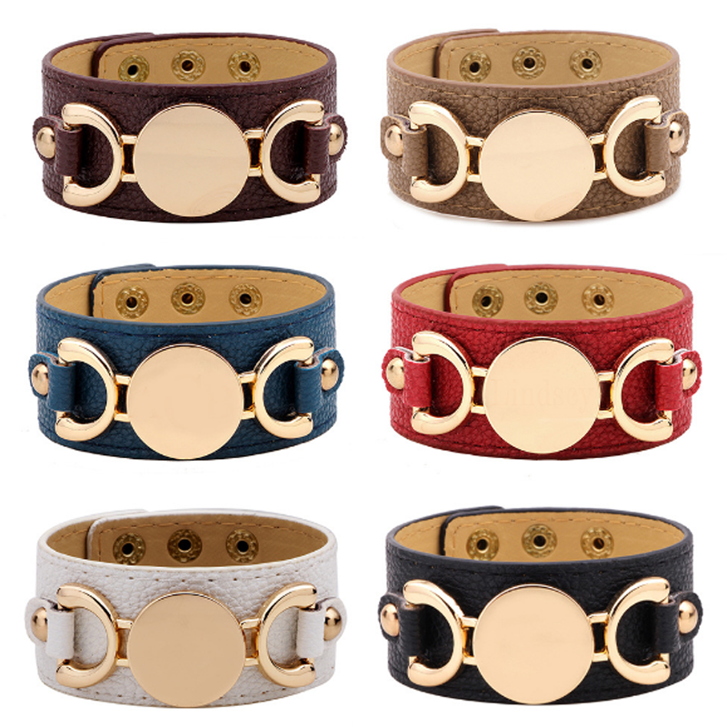 Fashion Wide Leather Lady Bracelet Women Contracted Wrap Bracelets & Bangles Alloy Buckle Wristband Party Wedding Punk Jewelry