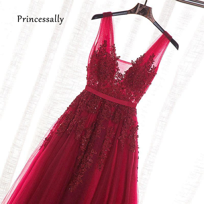 Robe De Soiree Wine Red Lace Beading Long Evening Dress Backless Bridal V neck Sleeveless Transparent Banquet Sexy Prom Dress(China)