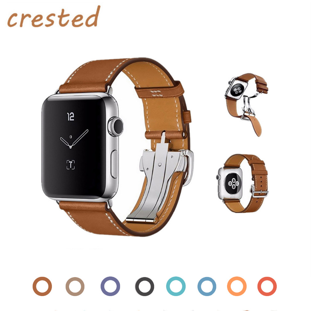 купить CRESTED Genuine leather strap band for apple watch iwatch Hermes 3/2/1 42mm 38mm bracelet wrist band with metal Butterfly buckle по цене 1077.44 рублей
