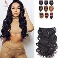8A Afroamericano Clip En Extensiones Del Pelo Humano Trama Doble Clip En extensiones de cabello humano Brasileño de la Virgen Del Pelo Humano Clip ins
