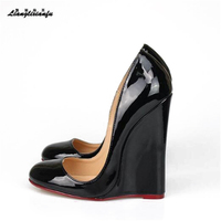 LLX zapatos mujer Plus:44 45 46 Summer personality Stiletto Round Toe shoes 14cm High Heels Sandals woman wedges lady Rome Pumps