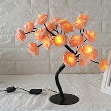 Lámpara de mesa con forma de rosa, sala de estar de rosas para luz decorativa con árbol, dormitorio CLH @ 8