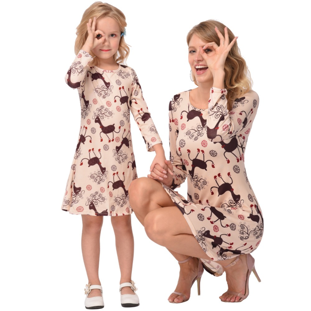 Mother Daughter Dresses 2018 Christmas Family Matching