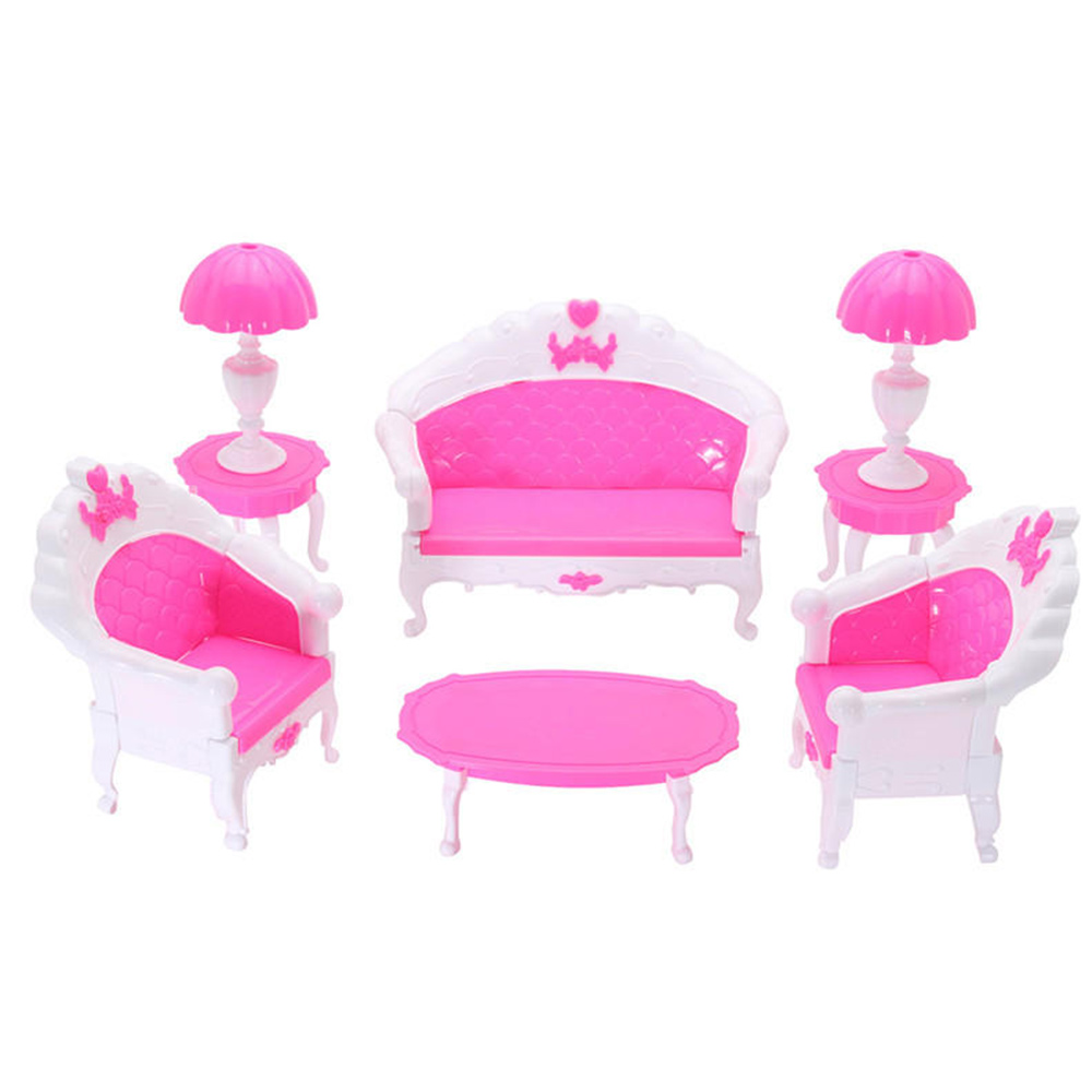 Dollhouse Furniture Livingroom Educational Pretend Furniture Role Playing Pretend Play 6pcs/Set House Play Doll Accessories
